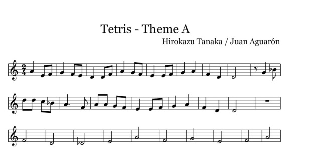 Melodía del Tetris, cuantos recuerdos...